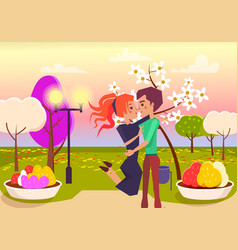 happy couple hugs in park at sunset vector image