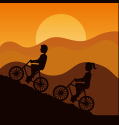 silhouette of couple driving bike climbing vector image