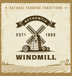 vintage authentic windmill label vector image vector image
