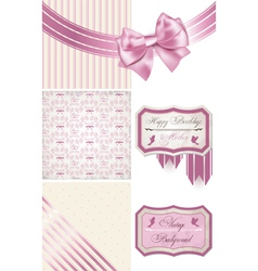 Vintage birthday Pattern frames and cute seamless vector image vector image