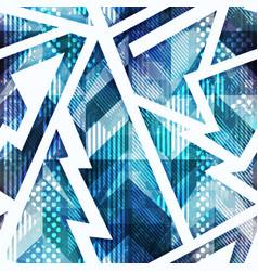 blue grunge geometric seamless pattern vector image