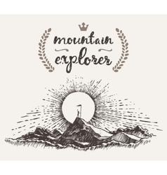Drawn man top mountain winner concept explorer vector