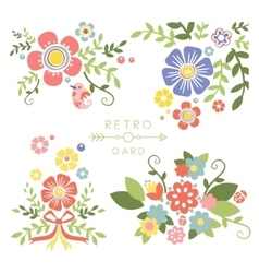 Floral Vintage Elements for Cards and Decor vector image