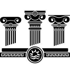 ionic columns and pattern stencil vector image vector image