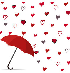 rain of heart with umbrella vector image vector image