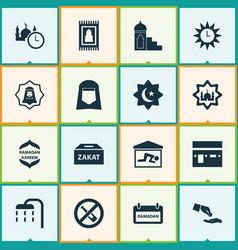 Ramadan icons set collection of namaz room vector