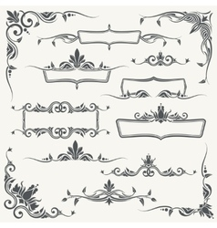 Vintage frames corners and dividers with vector image vector image