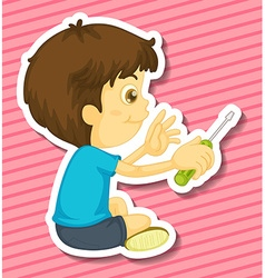 Boy and screwdriver vector image vector image