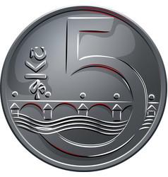 money five czech crones coin reverse vector image vector image