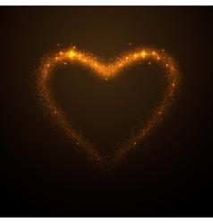 shine glow gold heart vector image vector image