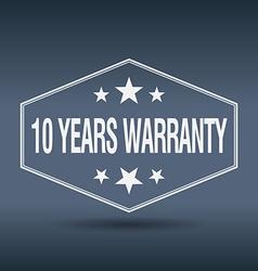 10 years warranty hexagonal white vintage retro vector