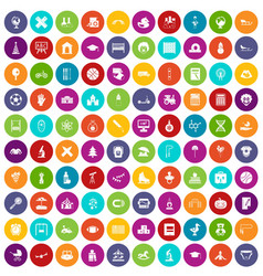100 kids icons set color vector