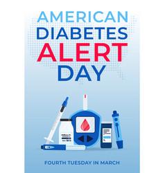 American diabetes alert day banner with insulin vector