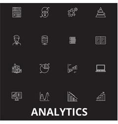 analytics editable line icons set on black vector image