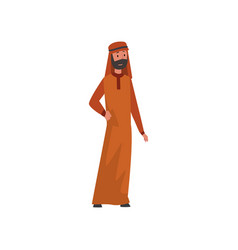 Arab man in traditional muslim clothes vector