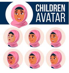 arab muslim girl avatar set kid primary vector image