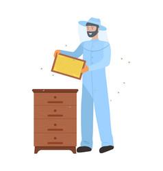 beekeeper wearing special uniform apiarist vector image