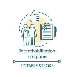 Best rehabilitation programs concept icon vector