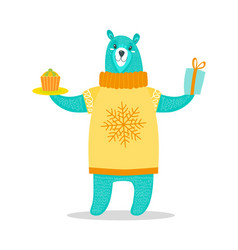 big bear in sweater with snowflake holds present vector image