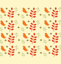 bird and leaves seamless pattern vector image