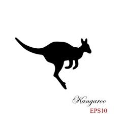 black silhouette a kangaroo on a white vector image