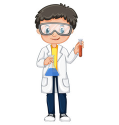 boy in science gown holding beakers vector image