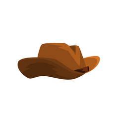 Brown cowboy hat on a white vector