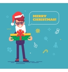Businessman in santa hat with beard giving gift vector