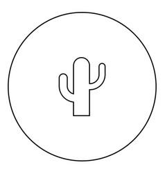 Cactus icon black color in circle vector