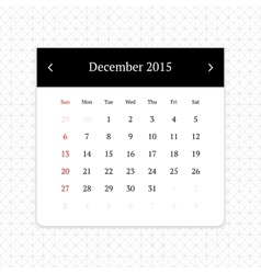 Calendar page for December 2015 vector