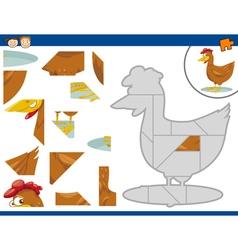 cartoon hen jigsaw puzzle task vector image