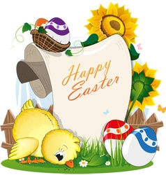 Chicken and Easter eggs with a paper scroll vector image vector image
