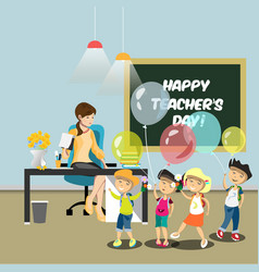 children congratulate the teacher in the classroom vector image