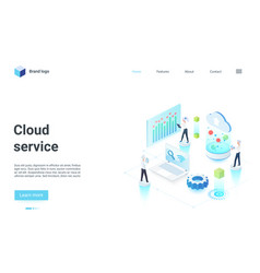 cloud tech service isometric landing page vector image