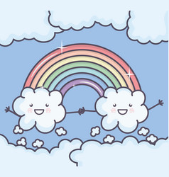 Clouds sky with rainbow weather kawaii characters vector