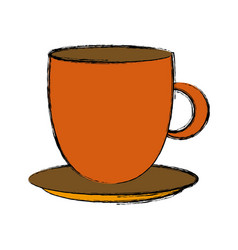 coffee cup dish ceramic handle object kitchen vector image