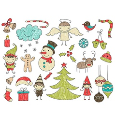 collection cute childrens drawings christmas vector image