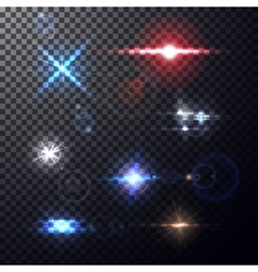 Colorful lens flares beams vector