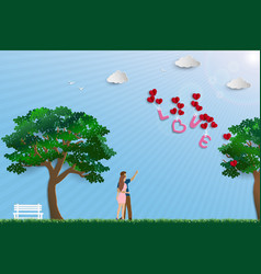 couple standing in the meadow on sunshine day vector image