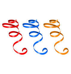 Curled ribbons colored collection vector