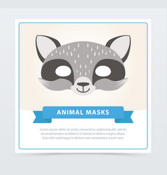 Cute carnival mask of raccoon children s vector