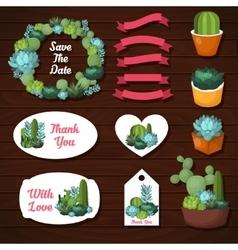 Cute succulents wedding graphic set vector