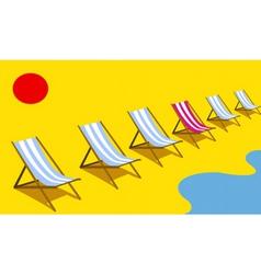 Deckchairs on beach vector