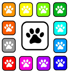 Dog paw square Icons vector image