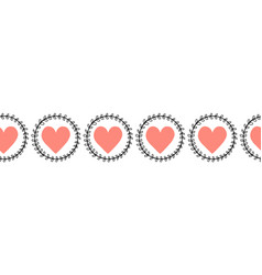 doodle hearts seamless border hand drawn vector image