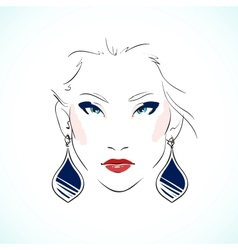 Elegant young model face vector image