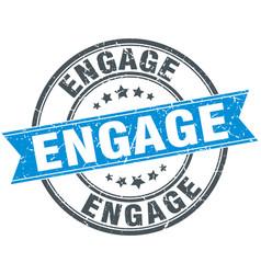 engage round grunge ribbon stamp vector image