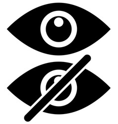 Eye symbols as show hide visible invisible public vector