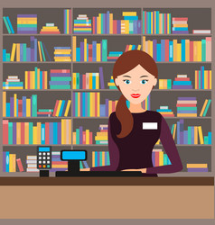 female seller in a bookstore vector image