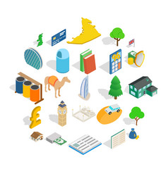 Finance center icons set isometric style vector